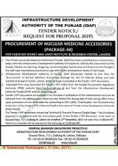 Procurement of Nuclear Medicine Accessories (Package 34) for PKLI Lahore