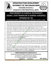 Procurement of Surgical Instruments (Kidney, Liver Transplant and General Surgeries) (Package 35) for PKLI Lahore