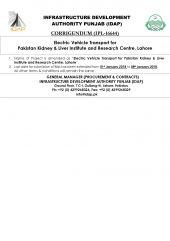 Corrigendum (IPL-16644) Electric Vehicle Transport for PKLI, Lahore