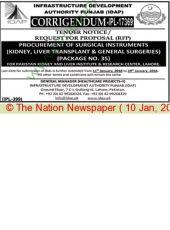 Corrigendum (IPL - 17369) Procurement of Surgical Instruments (Kidney, Liver Transplant & General Surgeries ) (Package No. 35) For PKLI, Lahore