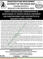 Supply, Installation, Commissioning & Maintenance of Various Medical Equipment For PKLI, Lahore