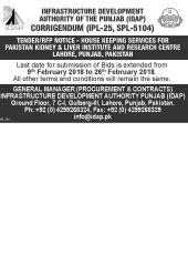 Corrigendum (IPL - 25, SPL - 5104) House Keeping Services For PKLI & RC, Lahore, Pakistan