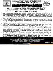 Supply, Installation and Commissioning of IT Equipment for RTEH, Muzaffargarh - Pakistan