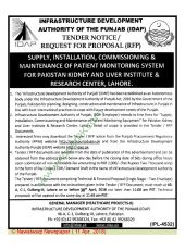 Supply, Installation, Commissioning & Maintenance of Patient Monitoring System for PKLI, Lahore
