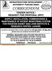 Corrigendum Supply, Installation, Commissioning & Maintenance of Patient Monitoring System for PKLI, Lahore