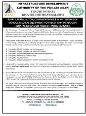 Supply, Installation, Commissioning & Maintenance of Various Medical Equipment for RTEH, Muzaffargarh