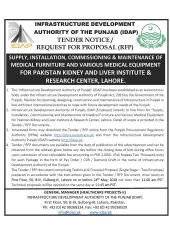 Supply, Installation, Commissioning & Maintenance of Medical Furniture & Various Medical Equipment for PKLI, Lahore
