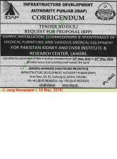 Corrigendum Supply, Installation, Commissioning & Maintenance of Medical Furniture & Various Medical Equipment For PKLI, Lahore