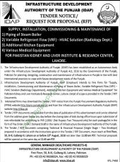 Supply, Installation, Commissioning & Maintenance of i) Piping of Steam Boiler ii) Variable Refrigerant Flow (VRF) - HVAC Solution (Radiology Dept.) iii) Additional Kitchen Equipment iv) Various Medical Equipment for PKLI, Lahore