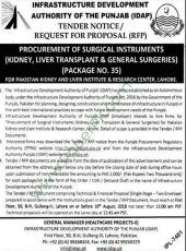 Procurement of Surgical Instruments (Kidney, Liver Transplant & General Surgeries) For PKLI, Lahore (Package No. 35)