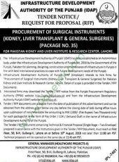 Procurement of Surgical Instruments (Kidney, Liver Transplant & General Surgeries) For PKLI, Lahore (Package No. 35)