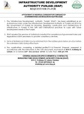 Appointment of Individual Consultant for Compliance of Government Rules and Regulation in IDAP Processes