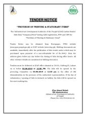 Provision of Printing and Stationary Items