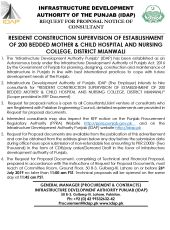 Resident Construction Supervision of Establishment of 200 Bedded Mother & Child Hospital And Nursing College, District Mianwali