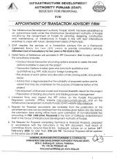 Appointment of Transaction Advisory Firm