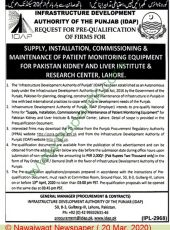 Supply, Installation, Commissioning & Maintenance of Patient Monitoring Equipment for PKLI, Lahore