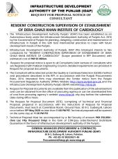 Resident Construction Supervision of Establishment of Dera Ghazi Khan Institute of Cardiology