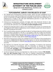Topographic Survey for Projects of IDAP