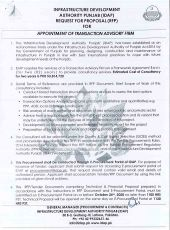 RFP for Appointment of Transaction Advisory Firm