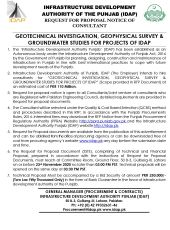 Geotechnical Investigation, Geophysical Survey & Ground Water Studies for Projects of IDAP