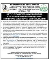 Supply, Installation, Commissioning & Maintenance of Radiology Equipment for Tertiary Care Hospital Nishtar-II, Multan