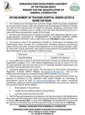 Establishment of Teaching Hospital (Sheikh Zayed II) Rahim Yar Khan