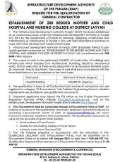 Establishment of 200 Bedded Mother & Child Hospital and Nursing College at District Layyah