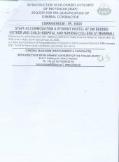 Corrigendum Staff Accommodation & Student Hostel at 200 Bedded Mother and Child Hospital and Nursing College at Mianwali