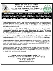 Procurement for Supply, Installation, Commissioning & Maintenance of Medical Gas Pipeline System (Package 1) on DAP DDP Basis for Establishment of 200 Bedded Mother & Child Hospital & Nursing College, Mianwali