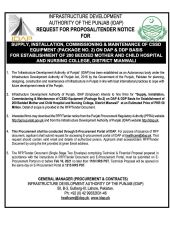 Supply, Installation, Commissioning & Maintenance of CSSD Equipment (Package 2) on DAP DDP Basis for Establishment of 200 Bedded Mother & Child Hospital & Nursing College, Mianwali