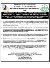 Supply, Installation, Commissioning & Maintenance of Laundry Equipment (Package 3) on DAP & DDP Basis for Establishment of 200 Bedded Mother & Child Hospital, Mianwali