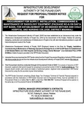 Supply, Installation, Commissioning & Maintenance of Radiology Equipment (Package 4) on DAP & DDP Basis for Establishment of 200 Bedded Mother & Child Hospital, Mianwali
