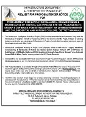 Procurement For Supply, Installation, Commissioning & Maintenance of Medical Gas Pipeline System (Package No.1) on DAP & DDP Basis, for Establishment of 200 Bedded Mother &  Child Hospital & Nursing College, District Mianwali