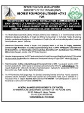 Procurement For Supply, Installation, Commissioning & Maintenance of Laundry Equipment (Package No. 3) on DAP & DDP Basis, for Establishment of 200 Bedded Mother & Child Hospital & Nursing College, District Mianwali