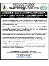 Procurement for Supply, Installation, Commissioning & Maintenance of Medical Gas Pipeline System (Package No. 2) on DAP & DDP Basis for SFMKBIC, DG Khan