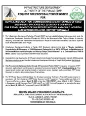 Supply, Installation, Commissioning & Maintenance of CSSD Equipment (Package No. 2) on DAP & DDP Basis for Establishment of 200 Bedded Mother & Child Hospital, Mianwali