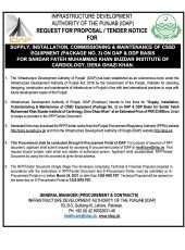 Supply, Installation, Commissioning & Maintenance of CSSD Equipment (Package No. 2) on DAP & DDP Basis for SFMKBIC, DG Khan
