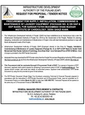 Procurement for Supply, Installation, Commissioning & Maintenance of Laundry Equipment (Package No. 4) on DAP & DDP Basis for SFMKBIC, DG Khan