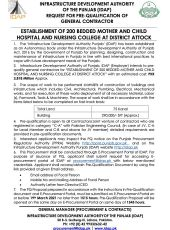 Request for PQ of General Contractor for Establishment of 200 Bedded Mother & Child Hospital & Nursing College, Attock