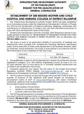 Request for PQ of General Contractor for Establishment of 200 Bedded Mother & Child Hospital & Nursing College, Rajanpur