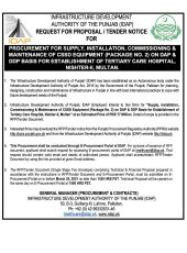 Procurement for Supply, Installation, Commissioning & Maintenance of CSSD Equipment (Package No. 2) on DAP & DDP Basis for Establishment of Tertiary Care Hospital, Nishtar - II, Multan