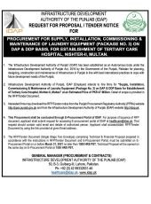 Procurement for Supply, Installation, Commissioning & Maintenance of Laundry Equipment (Package No. 3) on DAP & DDP Basis for Establishment of Tertiary Care Hospital, Nishtar - II, Multan