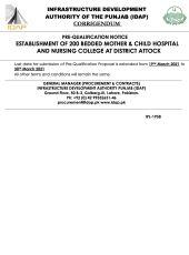 Corrigendum Establishment of 200 Bedded Mother & Child Hospital & Nursing College, Attock