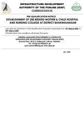 Corrigendum Establishment of 200 Bedded Mother & Child Hospital & Nursing College at Bahawalnagar