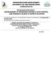 Corrigendum Establishment of 200 Bedded Mother & Child Hospital & Nursing College at Rajanpur