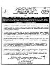 Supply, Installation, Commissioning & Maintenance of Medical Waste Disposal System (Package No. 5) on DAP & DDP Basis for Sardar Fateh Muhammad Khan Buzdar Institute of Cardiology, DG Khan