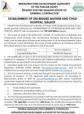 Establishment of 250 Bedded Mother and Child Hospital, Sialkot
