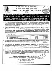 Procurement for Supply, Installation, Commissioning & Maintenance of UHPLC System (Lot-4), Bax System (Lot-5) & Food Pathogen Detection System (Lot-6) for PAFDA, Lahore