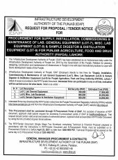 Procurement for Supply, Installation, Commissioning & Maintenance of Lab. General Equipment (Lot-7), Misc. Lab Equipment (Lot-8) & Sample Digestor & Distillation Equipment (Lot-9) for PAFDA, Lahore for PAFDA, Lahore