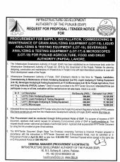 Procurement for Supply, Installation, Commissioning & Maintenance of Grain Analyzing Equipment (Lot-15), Liquid Analyzing & Testing Equipment (Lot-16), Beverages Analyzing & Testing Equipment (Lot-17) & Microscopes (Lot-18) for PAFDA, Lahore